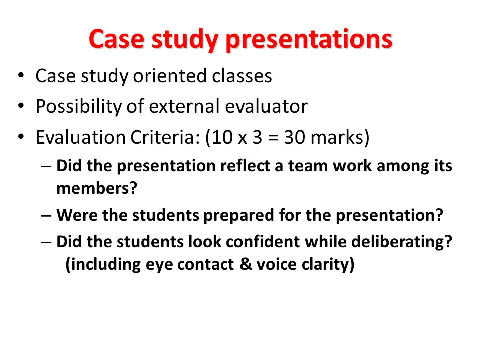 Case study presentations