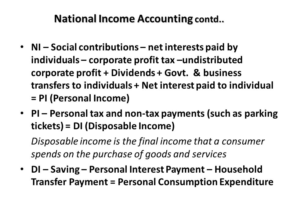 National Income Accounting contd..