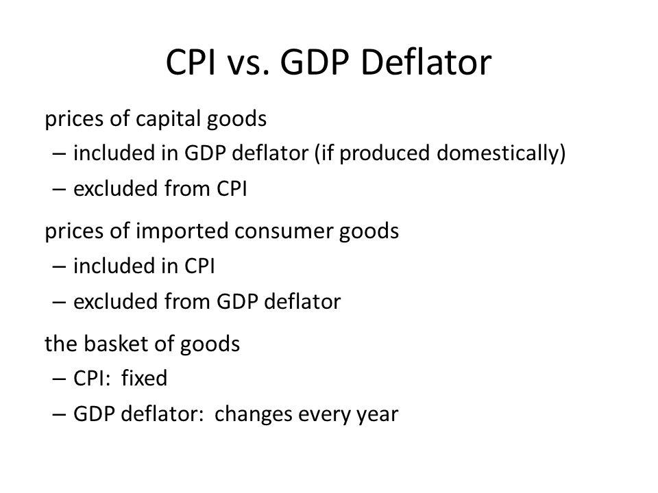 CPI vs. GDP Deflator prices of capital goods