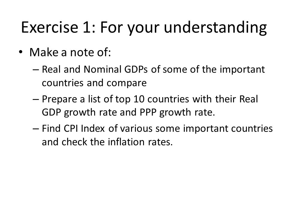 Exercise 1: For your understanding