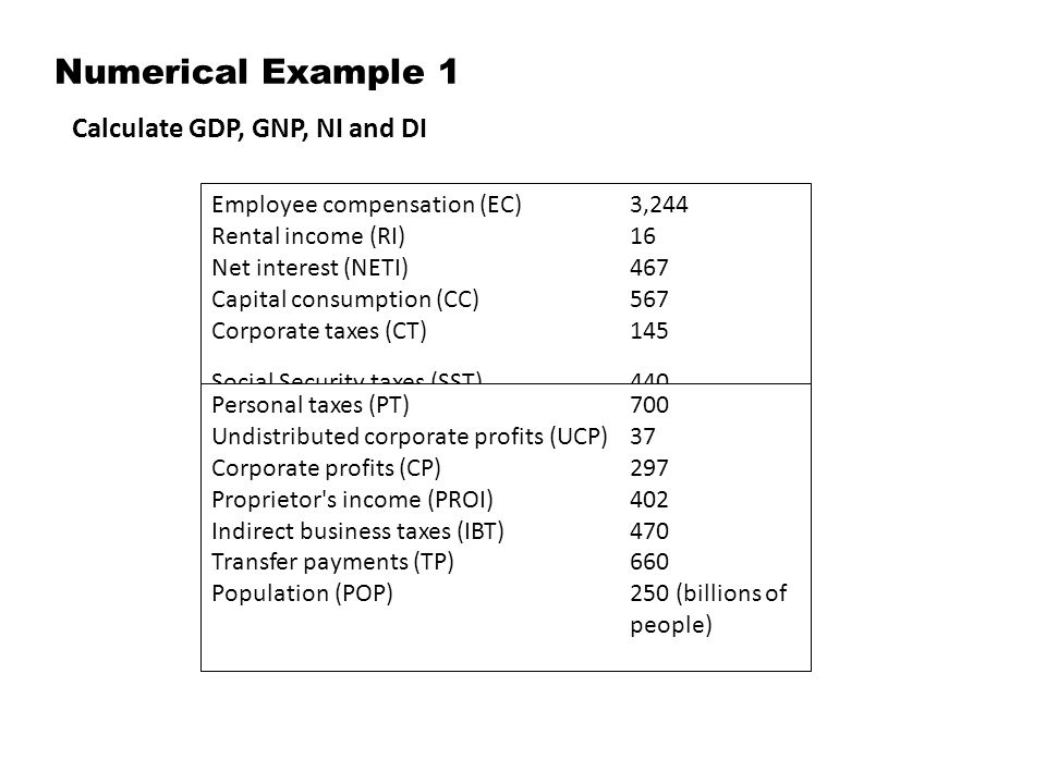 Numerical Example 1 Calculate GDP, GNP, NI and DI