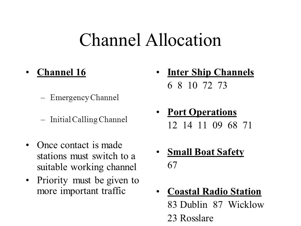 Channel Allocation Channel 16