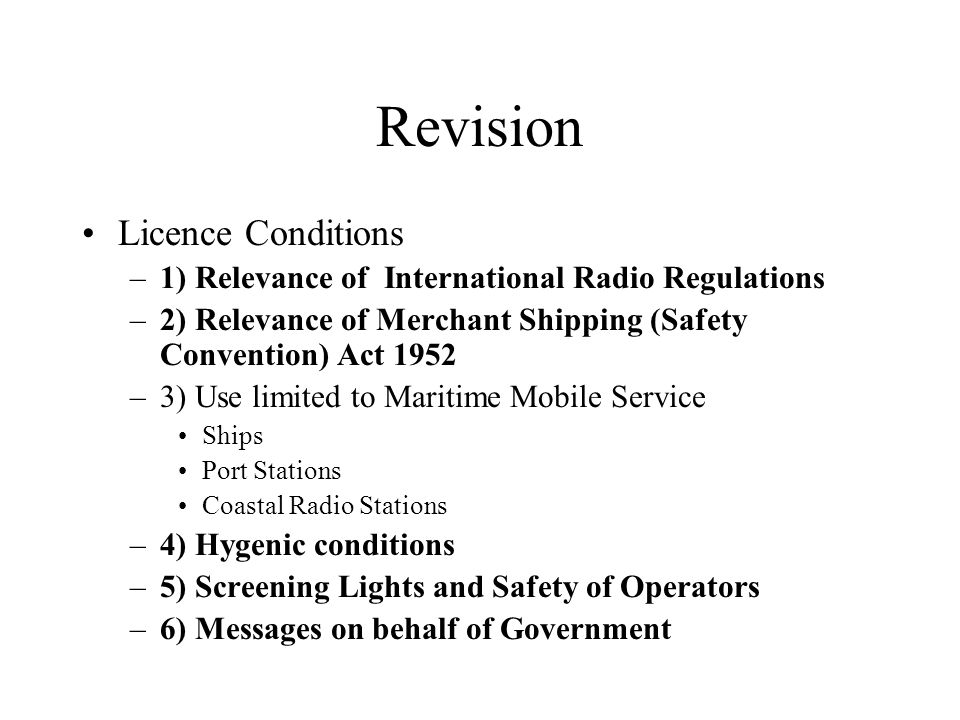 Revision Licence Conditions