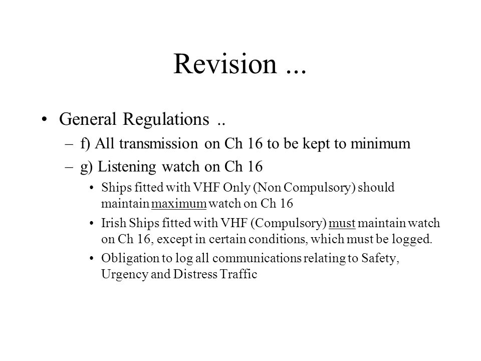 Revision ... General Regulations ..