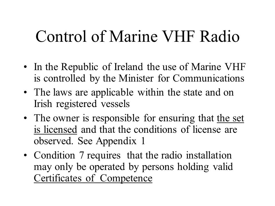 Control of Marine VHF Radio