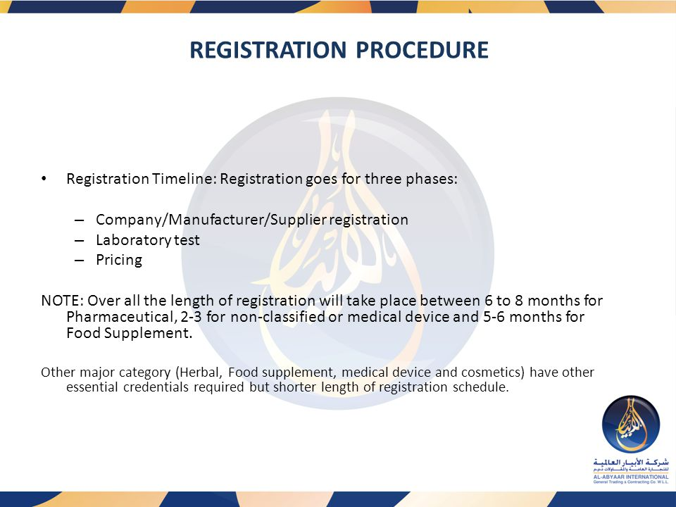 REGISTRATION PROCEDURE