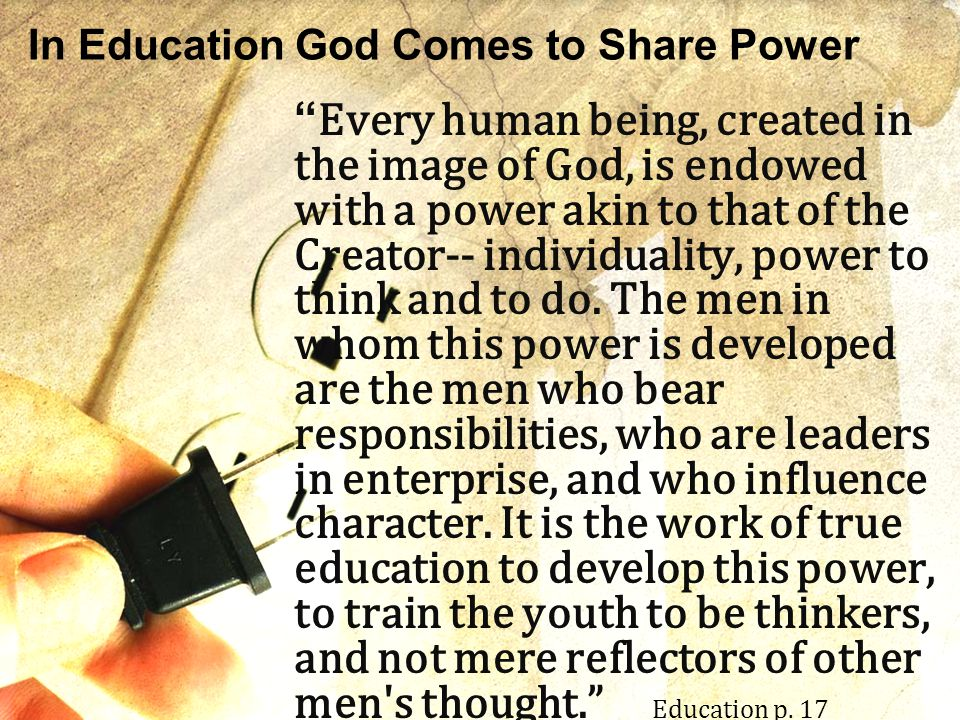 In Education God Comes to Share Power