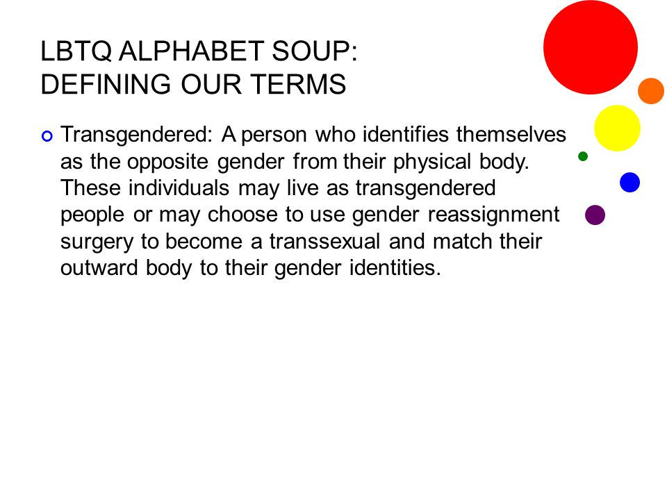 LBTQ ALPHABET SOUP: DEFINING OUR TERMS