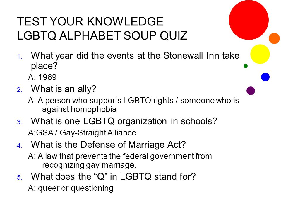 TEST YOUR KNOWLEDGE LGBTQ ALPHABET SOUP QUIZ