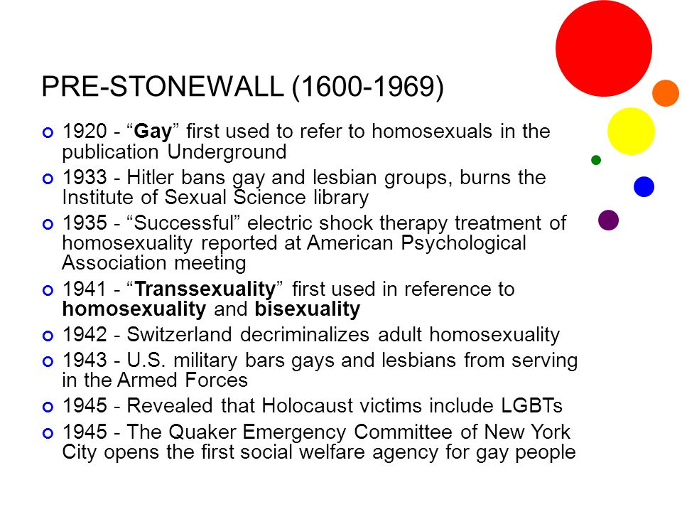 PRE-STONEWALL (1600-1969) 1920 - Gay first used to refer to homosexuals in the publication Underground.