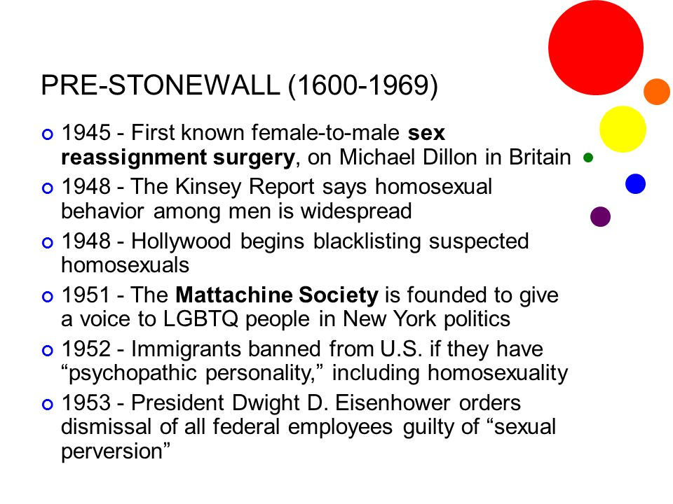 PRE-STONEWALL (1600-1969) 1945 - First known female-to-male sex reassignment surgery, on Michael Dillon in Britain.