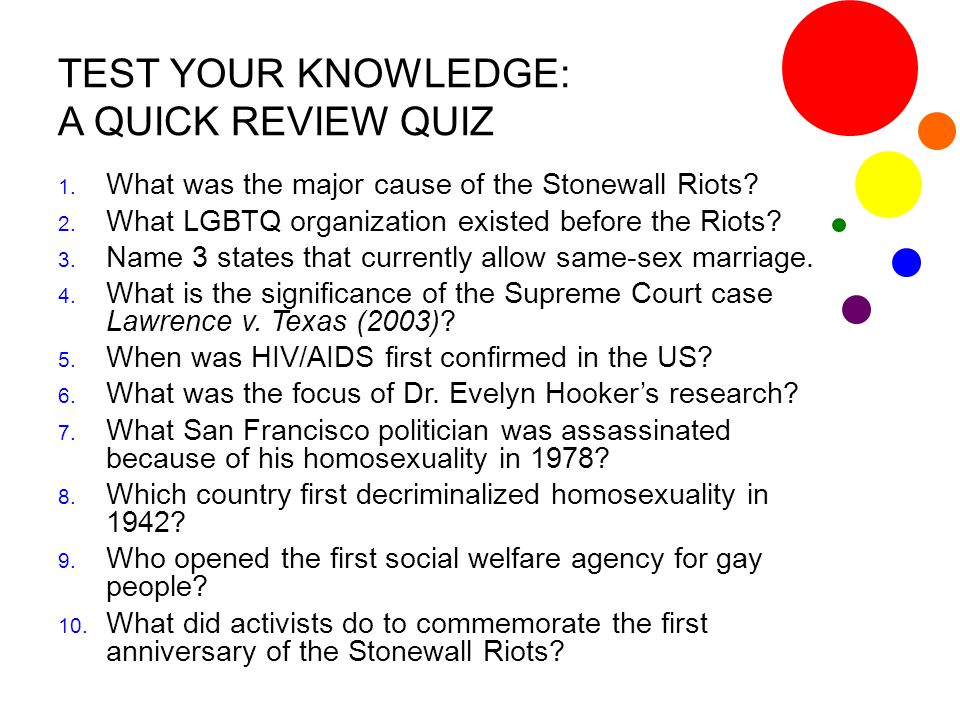 TEST YOUR KNOWLEDGE: A QUICK REVIEW QUIZ