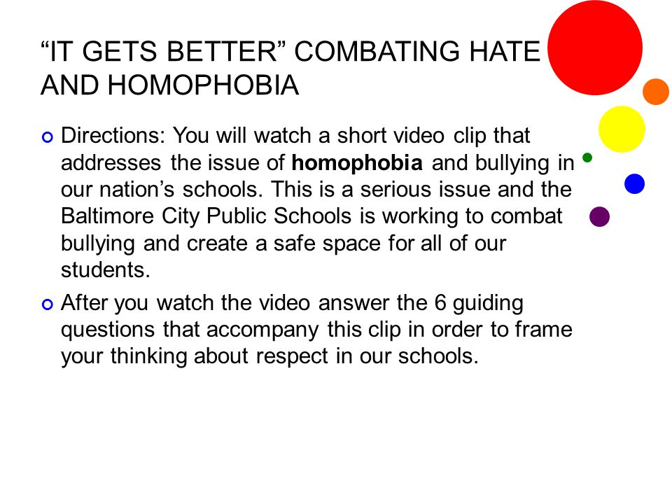 IT GETS BETTER COMBATING HATE AND HOMOPHOBIA