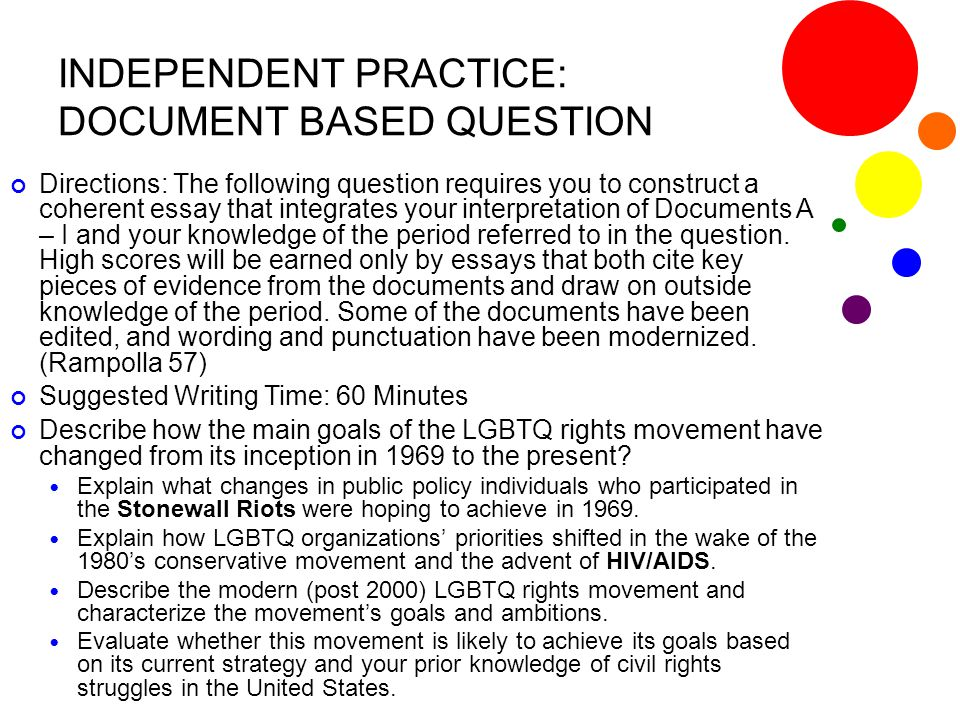 INDEPENDENT PRACTICE: DOCUMENT BASED QUESTION