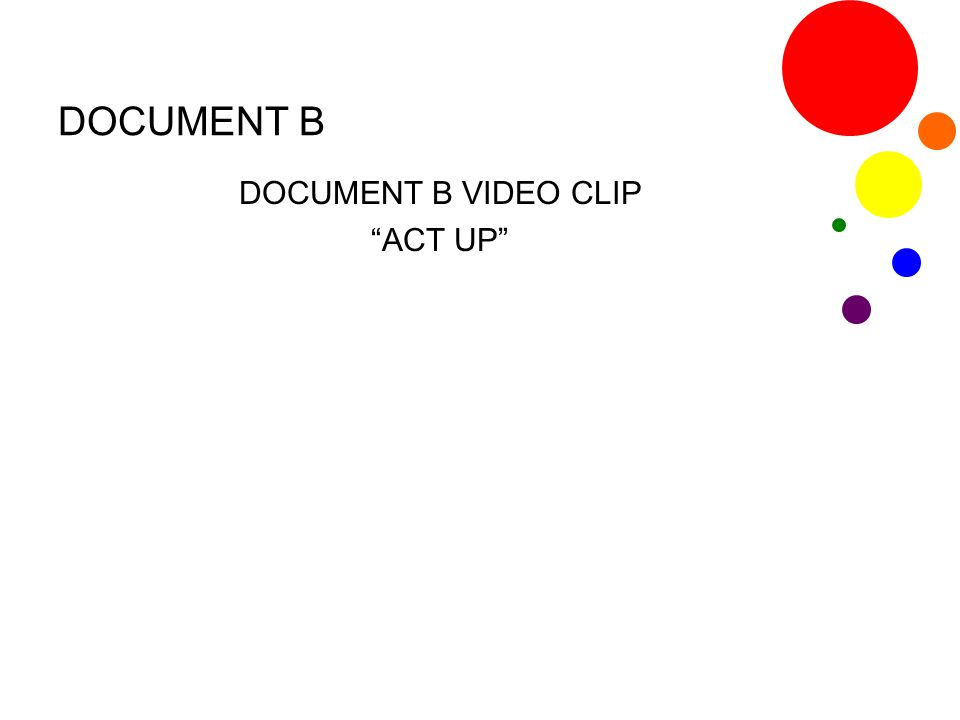 DOCUMENT B VIDEO CLIP ACT UP