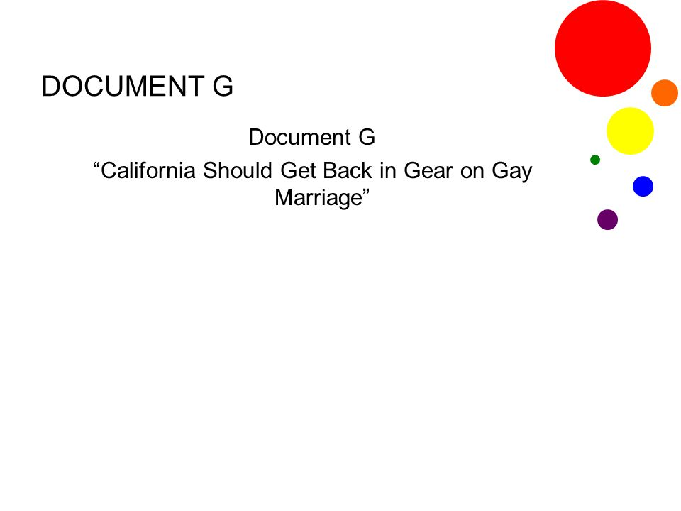 Document G California Should Get Back in Gear on Gay Marriage