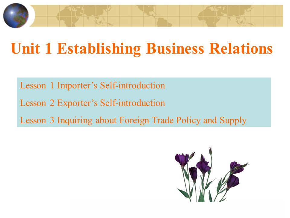 Unit 1 Establishing Business Relations