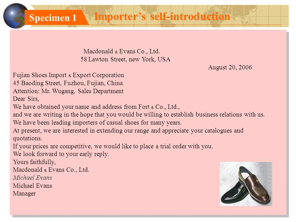 Specimen 1 Importer's self-introduction Macdonald ﹠ Evans Co., Ltd.