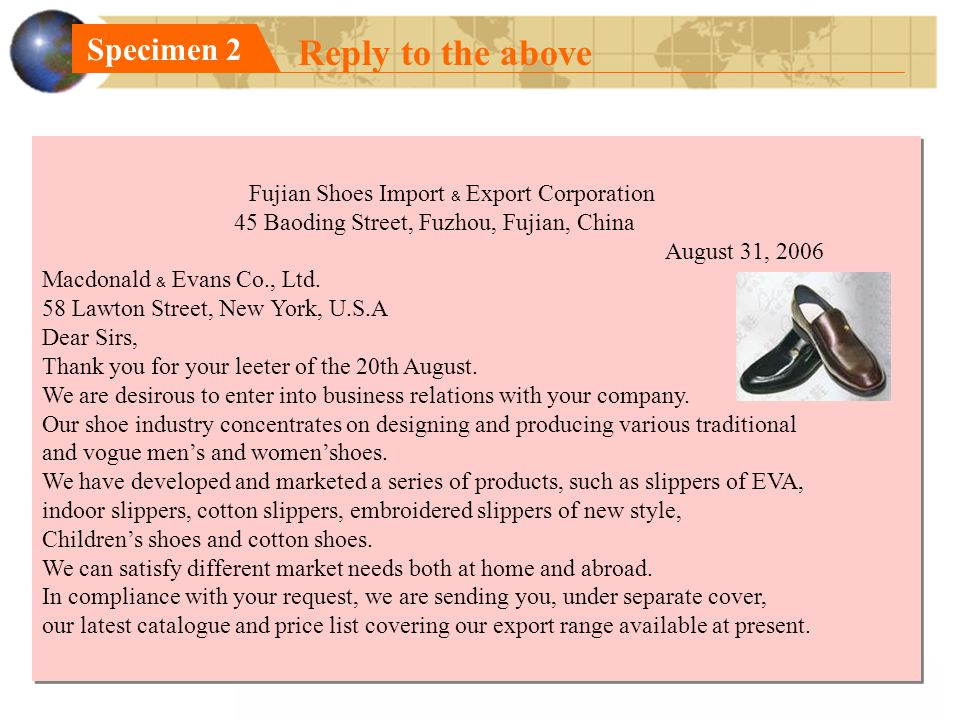 Reply to the above Specimen 2 Fujian Shoes Import ﹠ Export Corporation