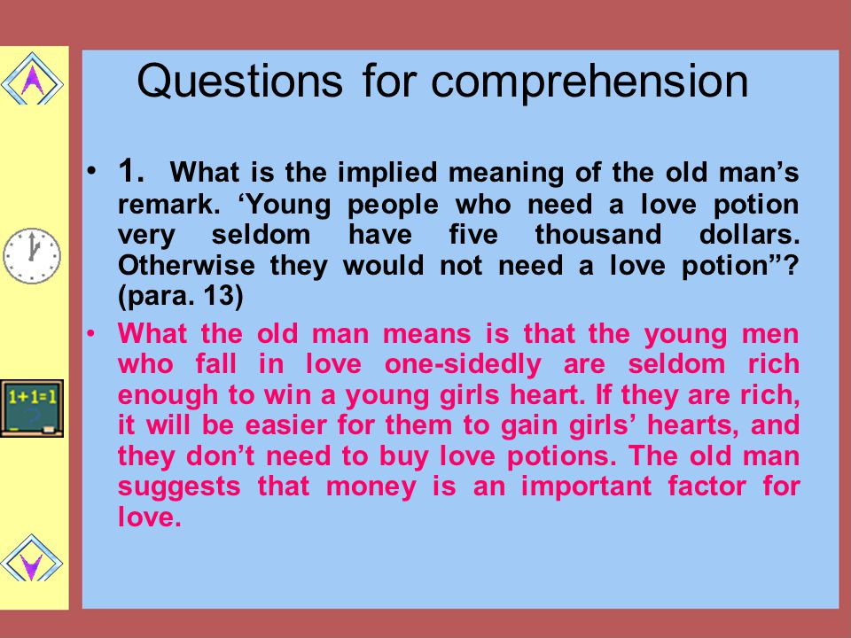 Questions for comprehension