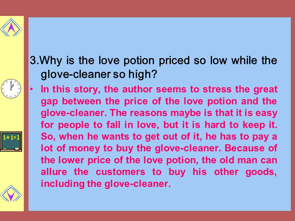 3.Why is the love potion priced so low while the glove-cleaner so high