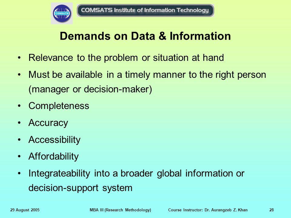 Demands on Data & Information