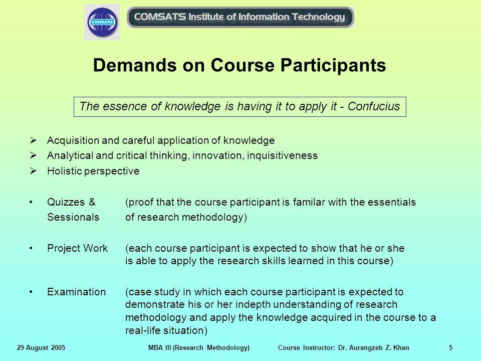 Demands on Course Participants