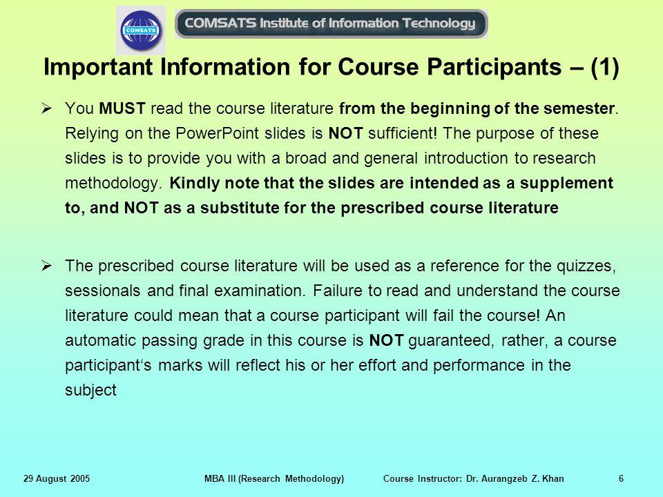 Important Information for Course Participants – (1)