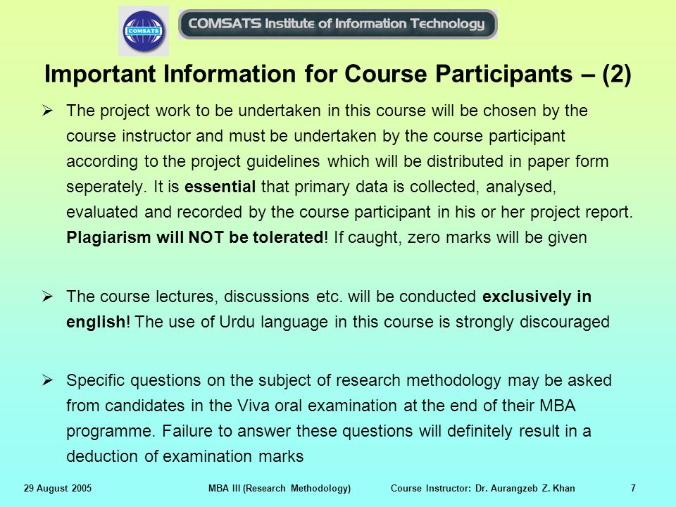 Important Information for Course Participants – (2)