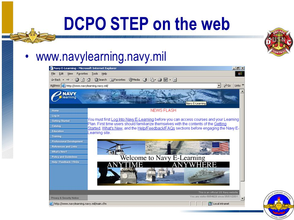 DCPO STEP on the web www.navylearning.navy.mil