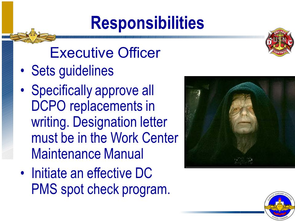 Responsibilities Executive Officer Sets guidelines