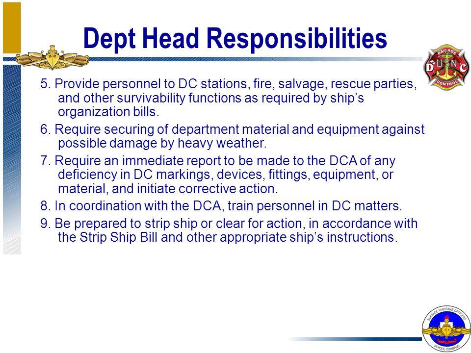 Dept Head Responsibilities