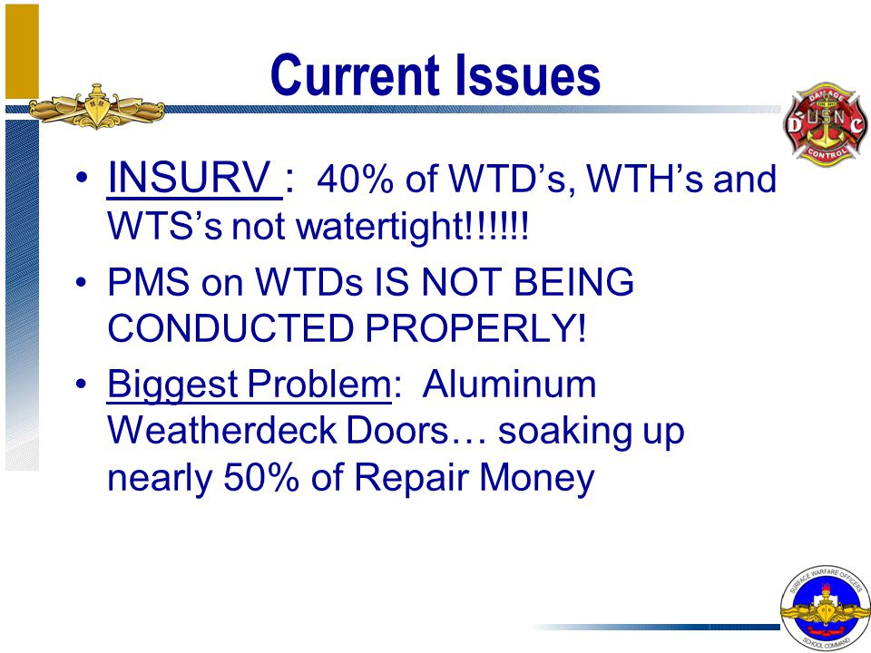 Current Issues INSURV : 40% of WTD's, WTH's and WTS's not watertight!!!!!! PMS on WTDs IS NOT BEING CONDUCTED PROPERLY!