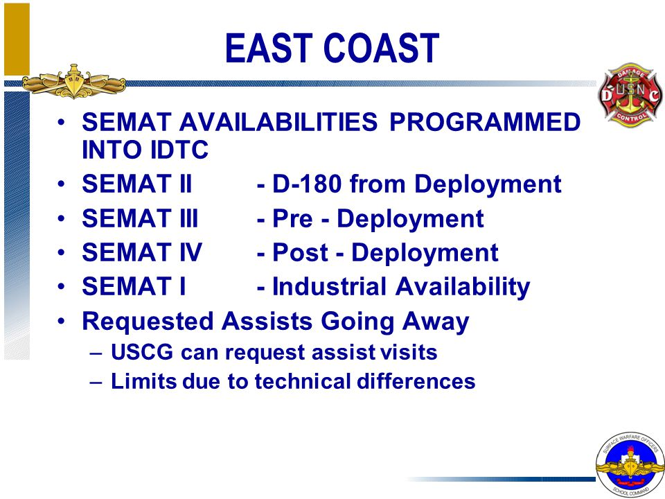 EAST COAST SEMAT AVAILABILITIES PROGRAMMED INTO IDTC