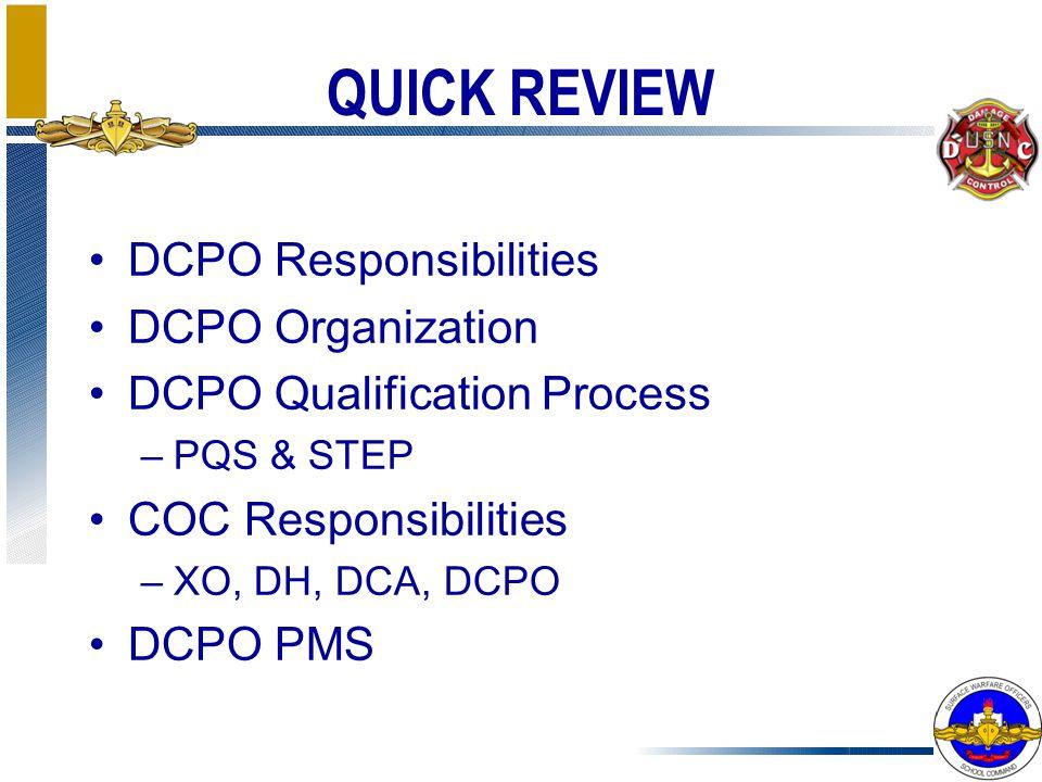 QUICK REVIEW DCPO Responsibilities DCPO Organization