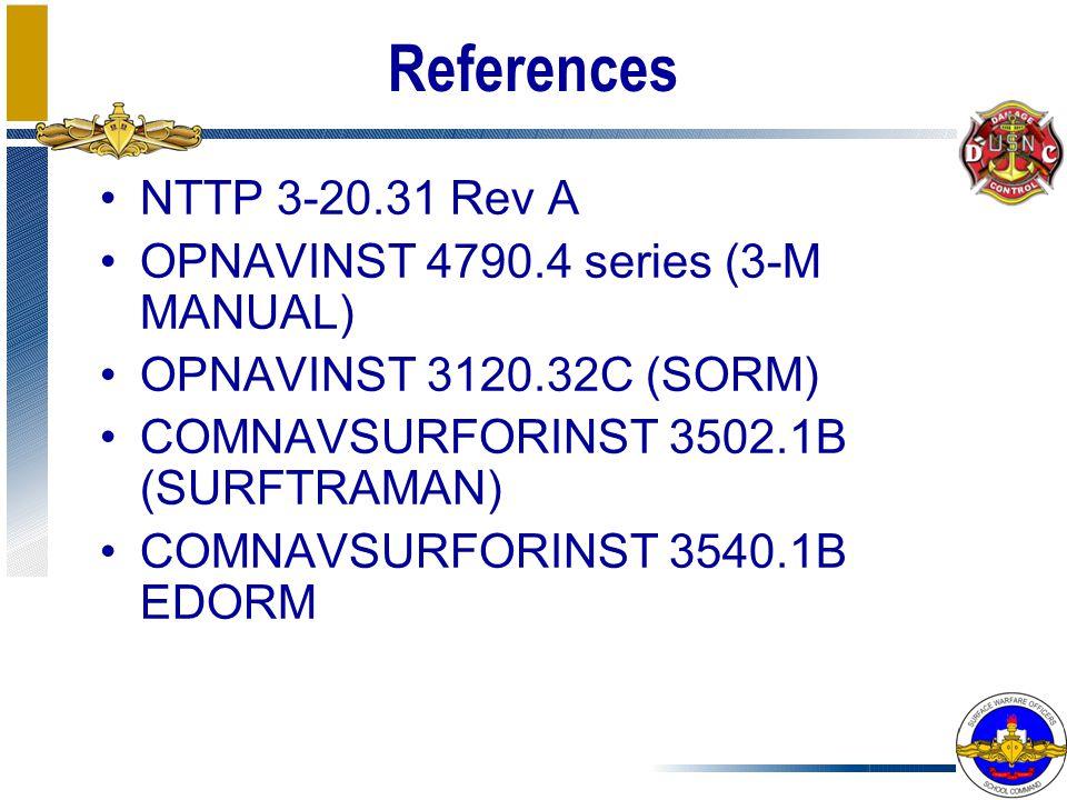 References NTTP 3-20.31 Rev A OPNAVINST 4790.4 series (3-M MANUAL)