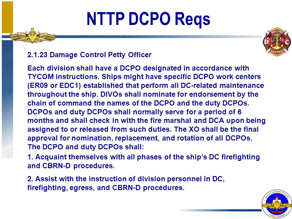 NTTP DCPO Reqs 2.1.23 Damage Control Petty Officer