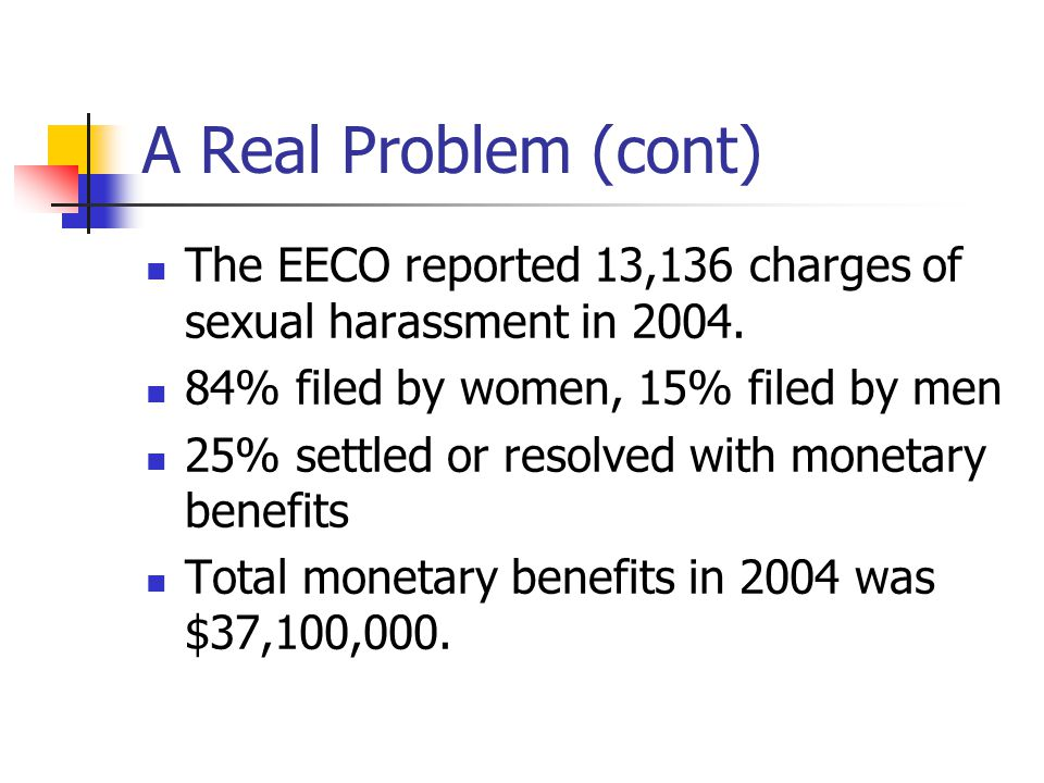 A Real Problem (cont) The EECO reported 13,136 charges of sexual harassment in 2004. 84% filed by women, 15% filed by men.