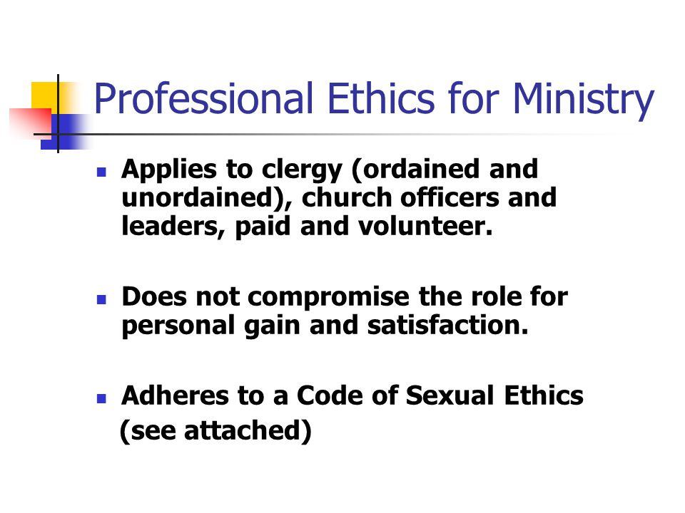 Professional Ethics for Ministry