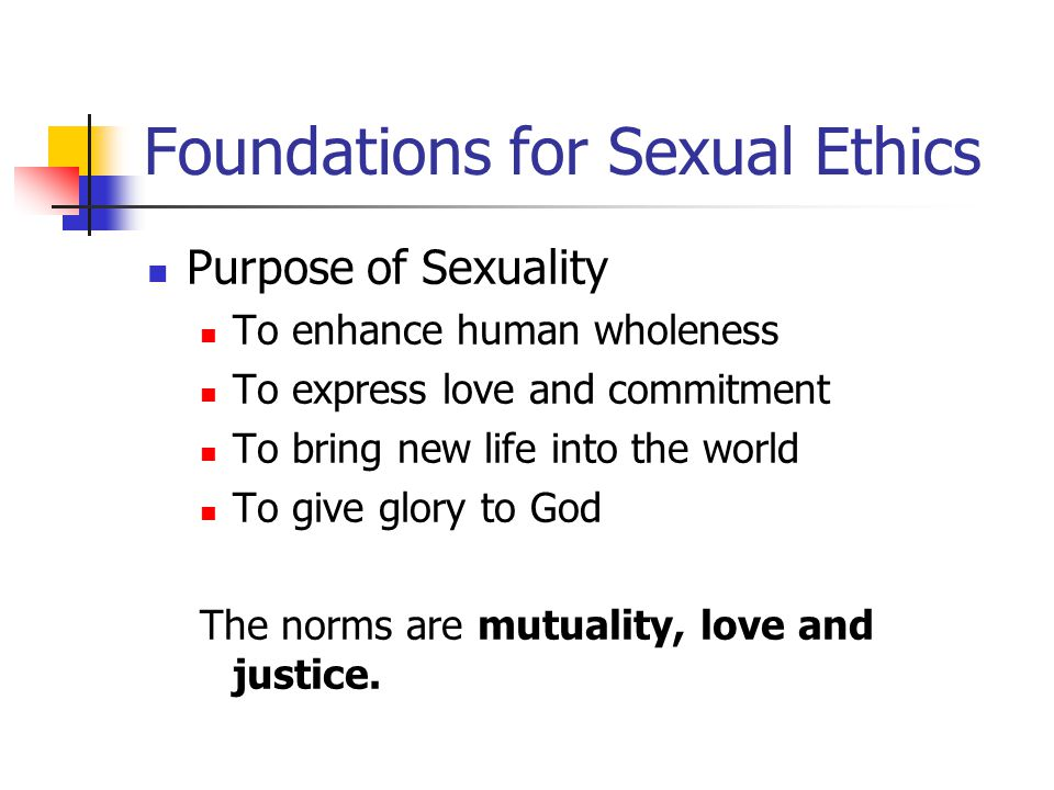 Foundations for Sexual Ethics