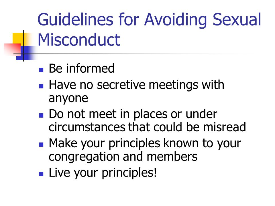Guidelines for Avoiding Sexual Misconduct