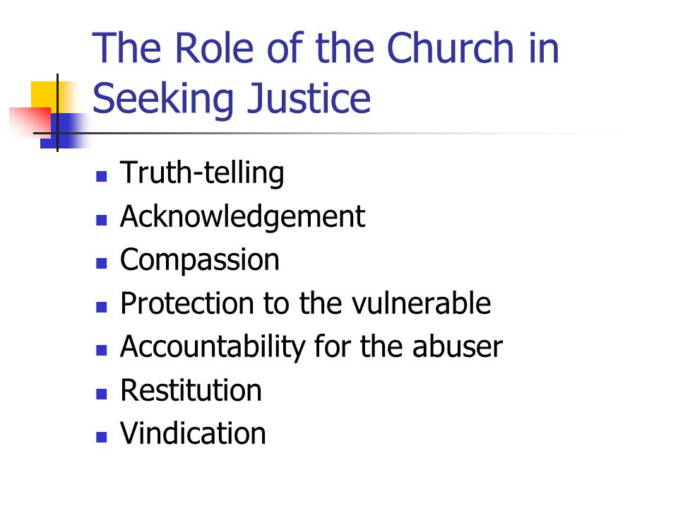 The Role of the Church in Seeking Justice