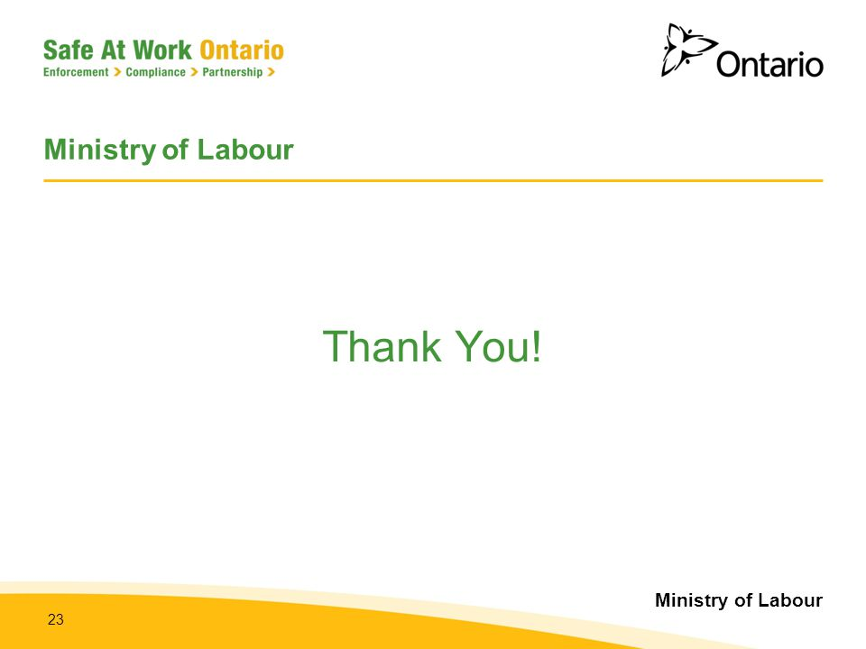 Ministry of Labour Thank You!
