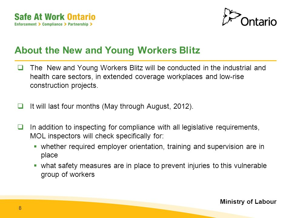 About the New and Young Workers Blitz