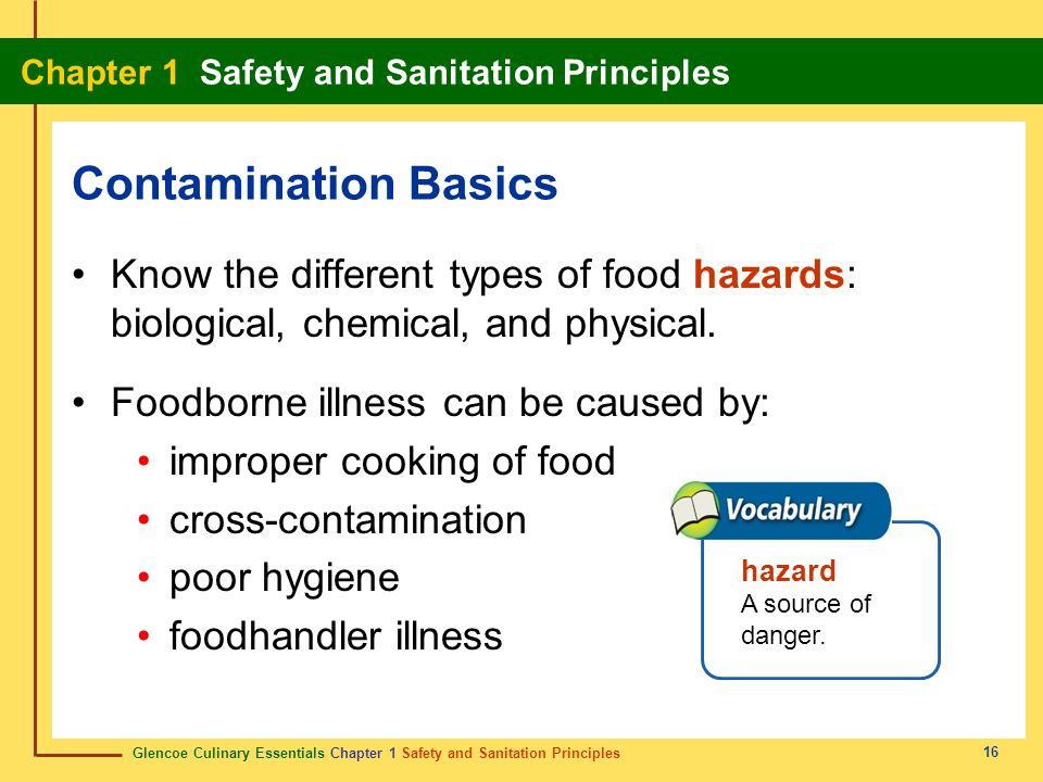 Contamination Basics Know the different types of food hazards: biological, chemical, and physical. Foodborne illness can be caused by: