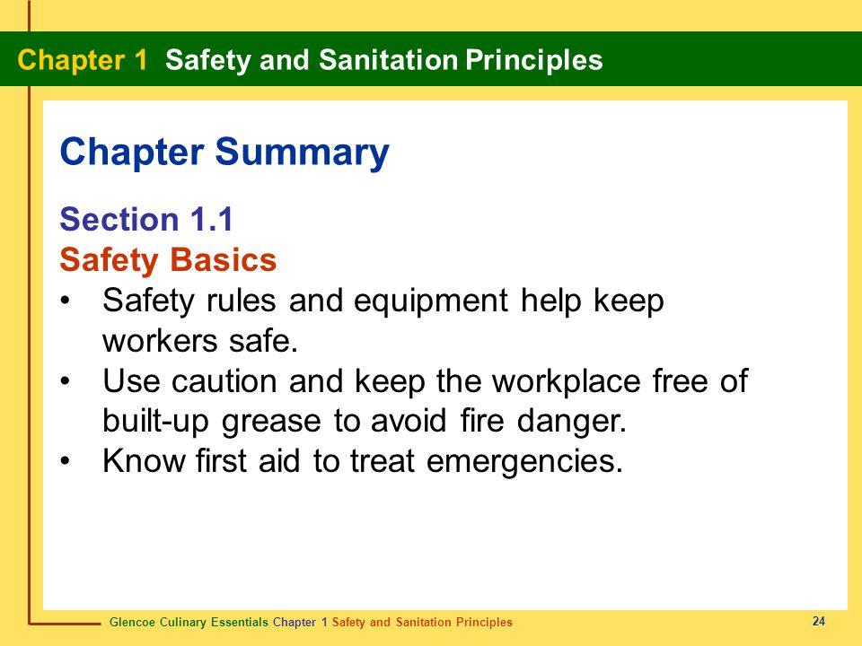 Chapter Summary Section 1.1 Safety Basics
