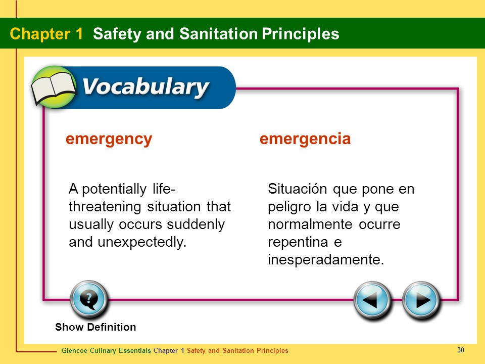 emergency emergencia A potentially life-threatening situation that usually occurs suddenly and unexpectedly.