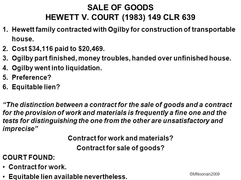 SALE OF GOODS HEWETT V. COURT (1983) 149 CLR 639