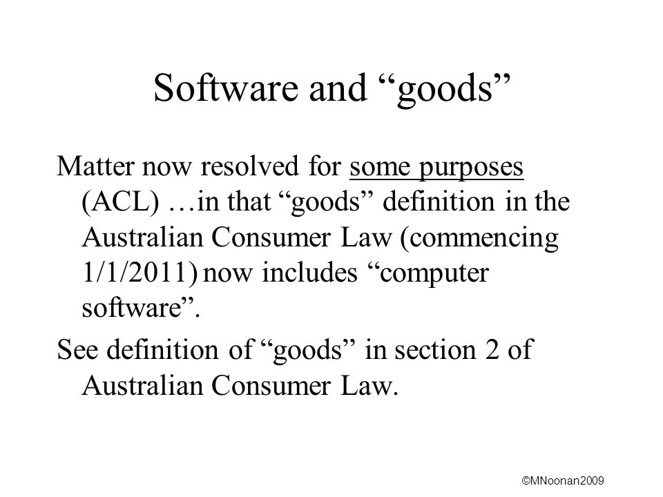 Software and goods