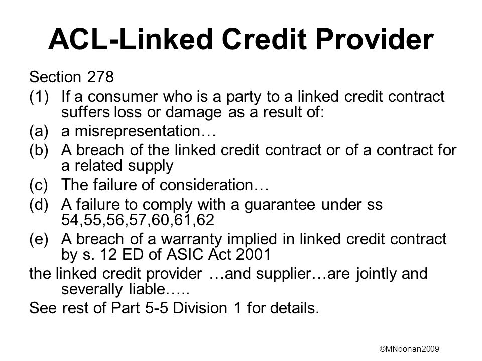 ACL-Linked Credit Provider